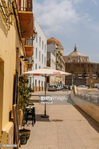 Campo del Sur avenue looking towards the Cadiz Cathedral, Spain