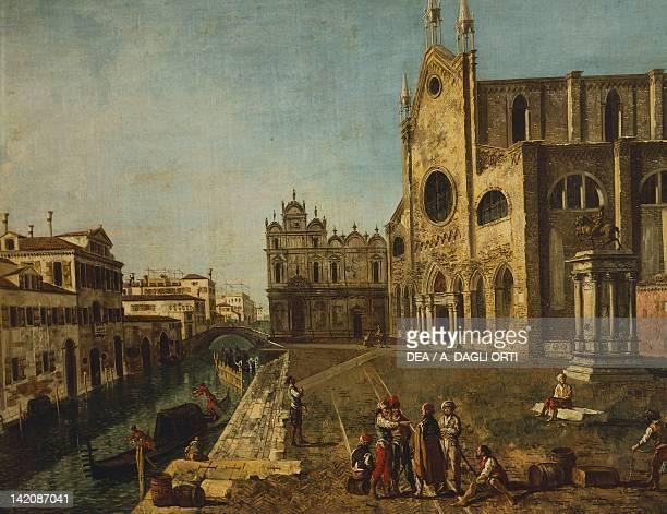 Campo Santi Giovanni e Paolo in Venice by Michele Marieschi Italy 18th Century Detail