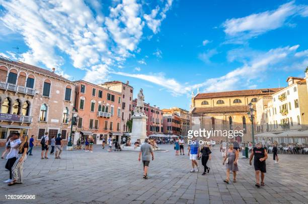 campo santo stefano square in venice, italy - campo santo stefano stock pictures, royalty-free photos & images
