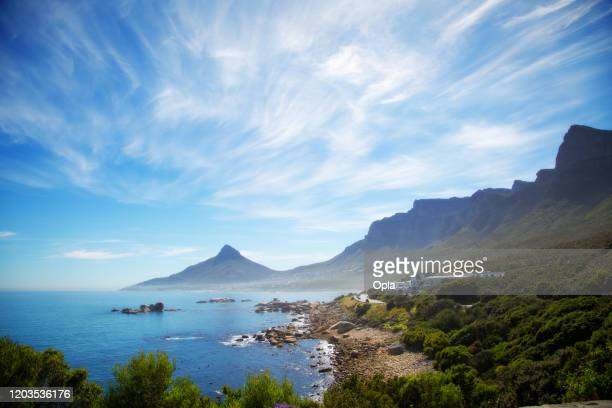 camps bay and oudekraal, cape town, south africa - table mountain stock pictures, royalty-free photos & images