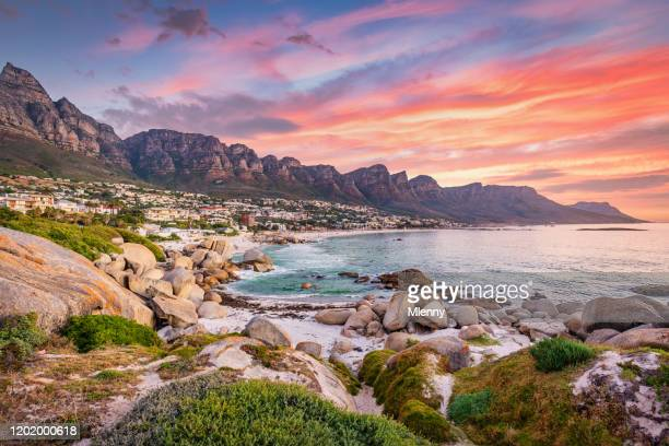 camps bay cape town vibrant sunset twilight south africa - south africa stock pictures, royalty-free photos & images