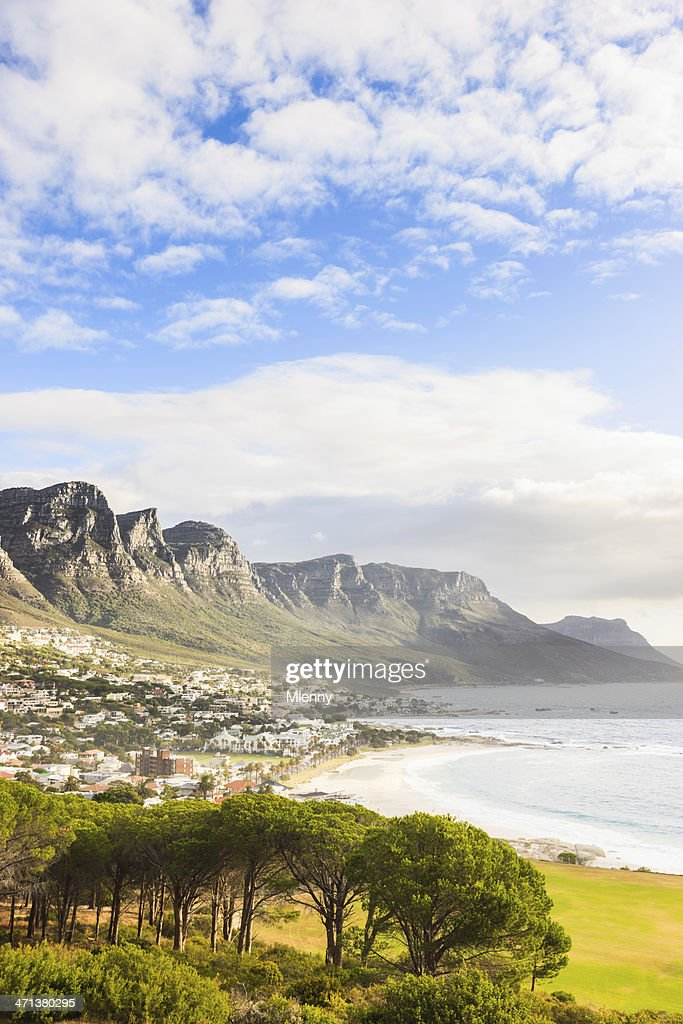 Camps Bay Coast underneath Table Mountain Cape Town South Africa : Stock Photo