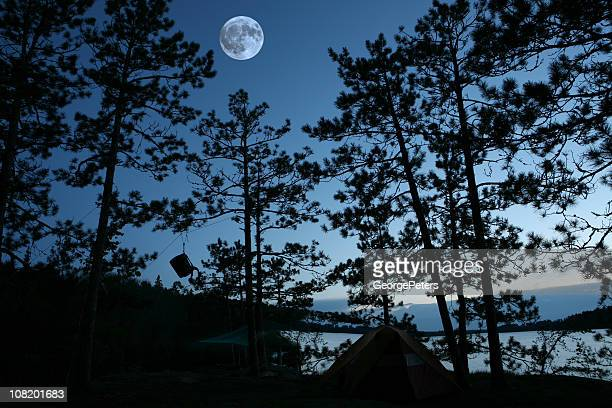 Campsite at Night with Full Moon and Bear Rope