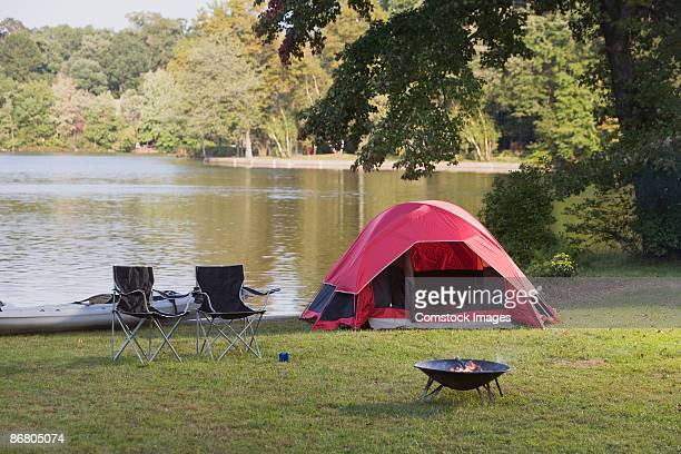 Campsite by lake