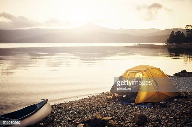 campsite coffee time - camping stock photos and pictures