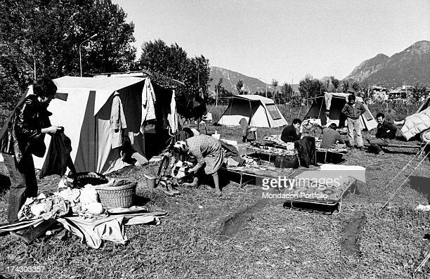 A campsite created for the Friuli earthquake victims after the heavy quake of the 6th May 1976 Friuli Venezia Giulia May 1976