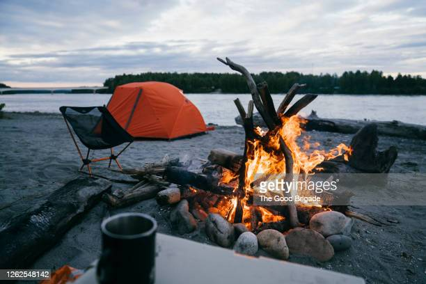 campsite near little susitna river, alaska - mt. susitna stock pictures, royalty-free photos & images