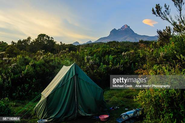 campsite near mawenzi peak - kilimanjaro stock photos and pictures