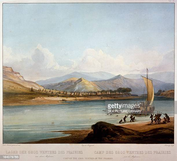 Campsite of Gros Ventres along the Missouri River aquatint by Karl Bodmer from Journey into the interior of North America during the years 18321834...
