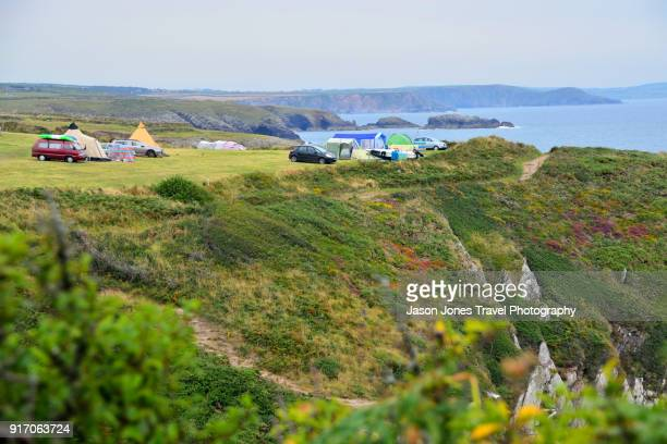campsite overlooking coast - st davids stock pictures, royalty-free photos & images