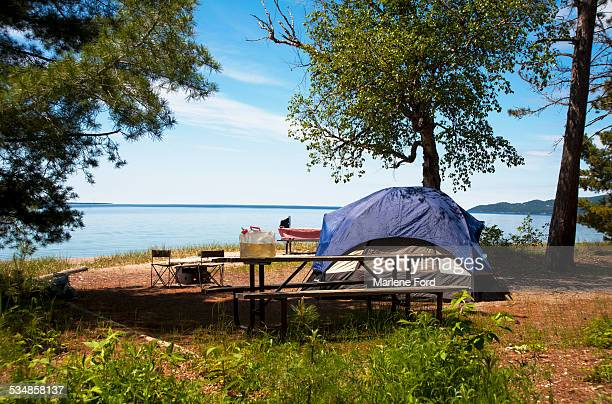 campsite - lake superior provincial park stock pictures, royalty-free photos & images