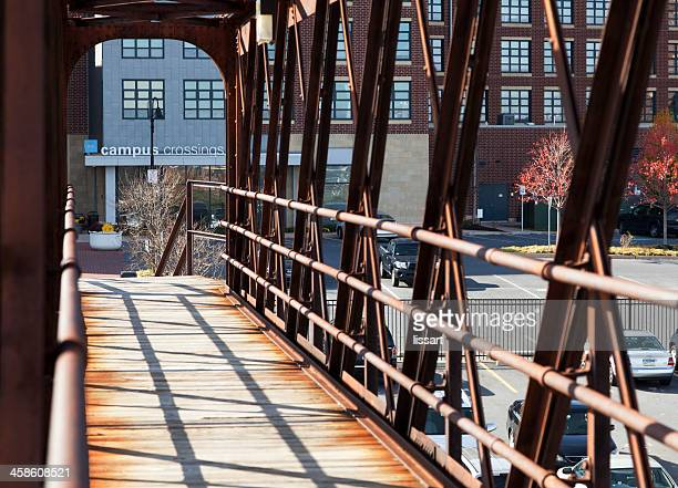 campus crossing footbridge and retail shops - lancaster pennsylvania stock pictures, royalty-free photos & images