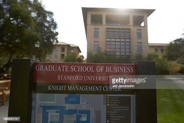 View of Knight Management Center signage in front of business school building on Stanford University campus Palo Alto CA CREDIT Jed Jacobsohn