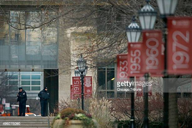 Campus security officers on the Main Quadrangles at the University of Chicago on Monday, Nov. 30, 2015 in Chicago. The University of Chicago...