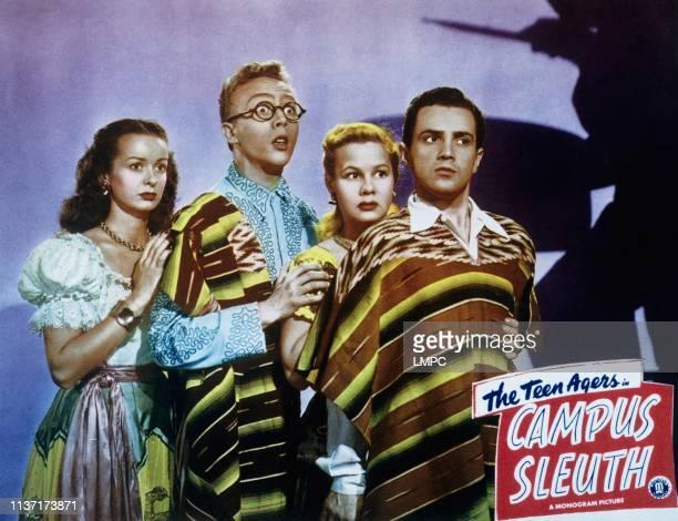 Campus Sleuth, lobbycard, from left, Noel Neill, Warren Mills, June Preisser, Freddie Stewart, 1948.