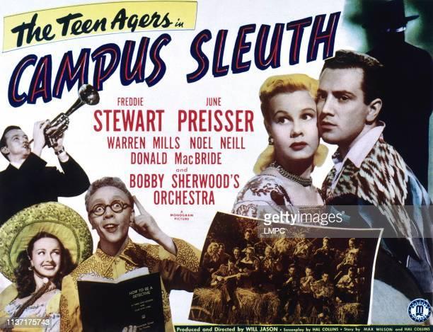 Campus Sleuth, poster, from left, Bobby Sherwood , Noel Neill, Warren Mills, June Preisser, Freddie Stewart, 1948.