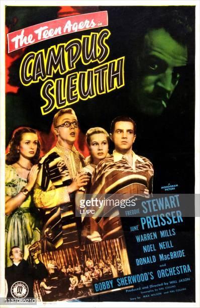 Campus Sleuth, poster, US poster, from left: Noel Neill, Warren Mills, June Preisser, Freddie Stewart, bottom left: Bobby Sherwood , 1948.