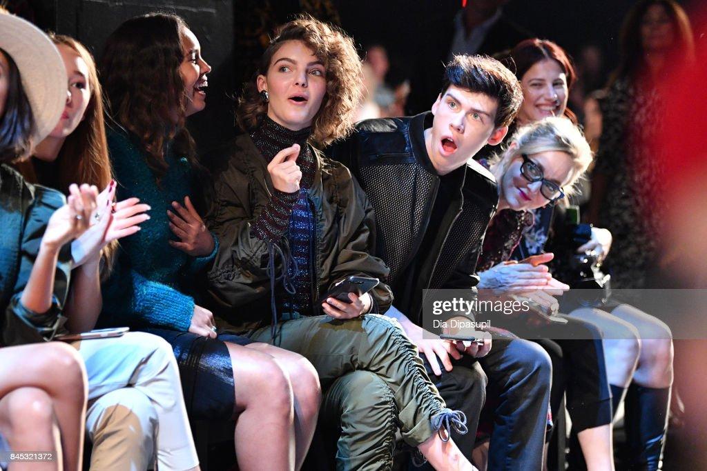 Camren Bicondova and Aidan Alexander attend Vivienne Tam fashion show during New York Fashion Week: The Shows at Gallery 1, Skylight Clarkson Sq on September 10, 2017 in New York City.