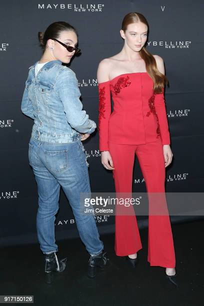 Camren Bicondova and Larsen Thompson attends Maybelline New York and V Magazine host New York Fashion Week Party at Nomo Soho Hotel on February 11...