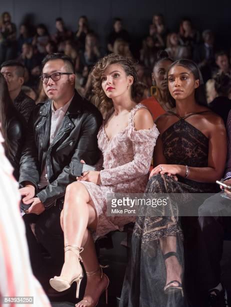 Camren Bicondova and Lori Harvey attend the Tadashi Shoji fashion show at Gallery 1 Skylight Clarkson Sq on September 7 2017 in New York City