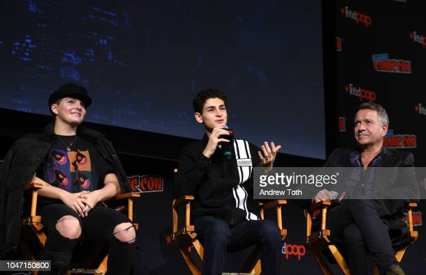 Camren Bicondova David Mazouz and Sean Pertwee speak onstage at the Gotham Special Video Presentation and QA during New York Comic Con in The Hulu...