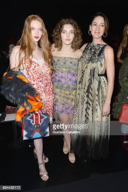 Camren Bicondova Larsen Thompson and Bree Turner attend Tadashi Shoji fashion show during New York Fashion Week The Shows at Gallery 1 Skylight...