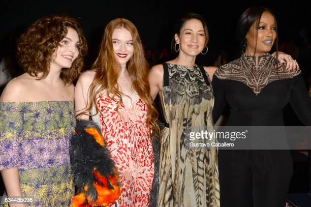 Camren Bicondova Larsen Thompson Bree Turner and Garcelle Beauvais attend Tadashi Shoji fashion show during New York Fashion Week The Shows at...