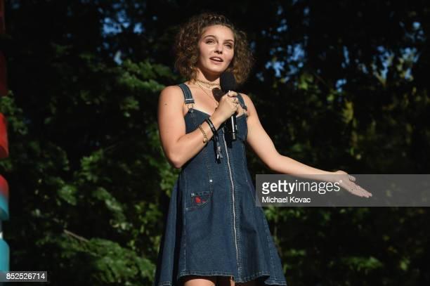 Camren Bicondova speaks onstage during Global Citizen Festival 2017 at Central Park on September 23 2017 in New York City