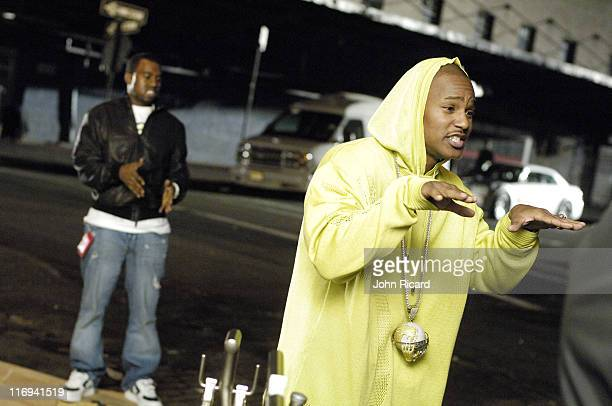 Cam'ron and Kanye West during Cam'ron on the Set of 'Down and Out' Music Video April 21 2005 at Meat Packing Distict in New York New York United...