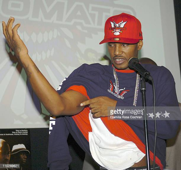 Cam'ron showing his bullet wound during Cam'Ron Press Conference - January 25, 2006 at Tribeca Cinemas in New York City, New York, United States.
