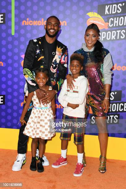 Camryn Alexis Paul host Chris Paul Christopher Emmanuel Paul II and Jada Crawley attend the Nickelodeon Kids' Choice Sports 2018 at Barker Hangar on...