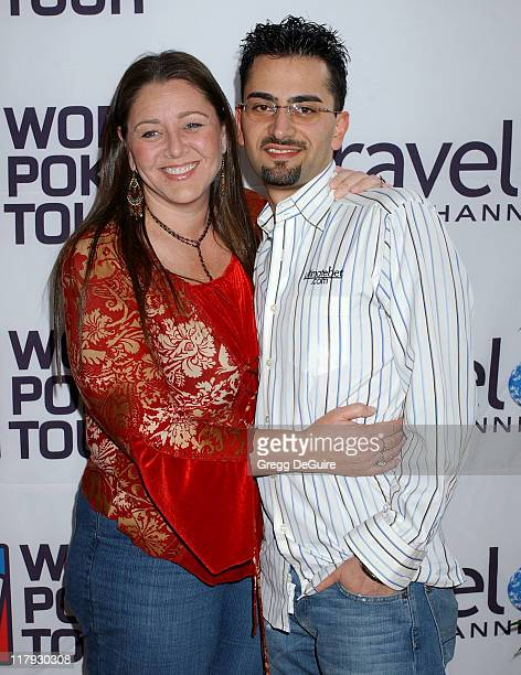 Camryn Manheim and Antonio Esfandiari during 2005 World Poker Tour Invitational Arrivals at Commerce Casino in City of Commerce California United...