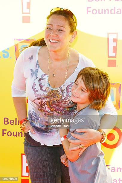 Camryn Manheim and her son Milo Jacob arrive at the 2009 PS Arts ''Express Yourself'' Creative Arts fair held at Barker Hangar on November 15 2009 in...