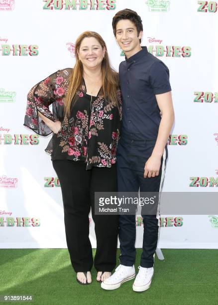 Camryn Manheim and her son Milo Manheim attend the Los Angeles premiere for Disney Channel's Zombies held at Walt Disney Studio Lot on February 3...