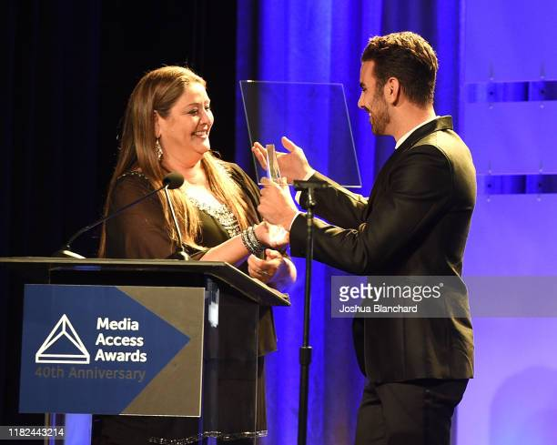 Camryn Manheim and Nyle DiMarco attend the 40th Annual Media Access Awards In Partnership With Easterseals at The Beverly Hilton Hotel on November 14...