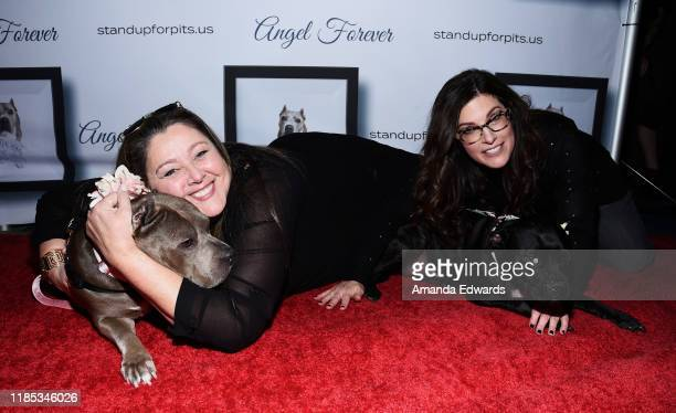 Camryn Manheim and Rebecca Corry arrive with Sally and Todd the Pitbulls at the 9th Annual Stand Up For Pits event hosted by Kaley Cuoco at The Mayan...
