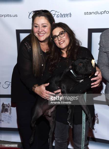 Camryn Manheim and Rebecca Corry arrive with Todd the Pitbill at the 9th Annual Stand Up For Pits event hosted by Kaley Cuoco at The Mayan on...