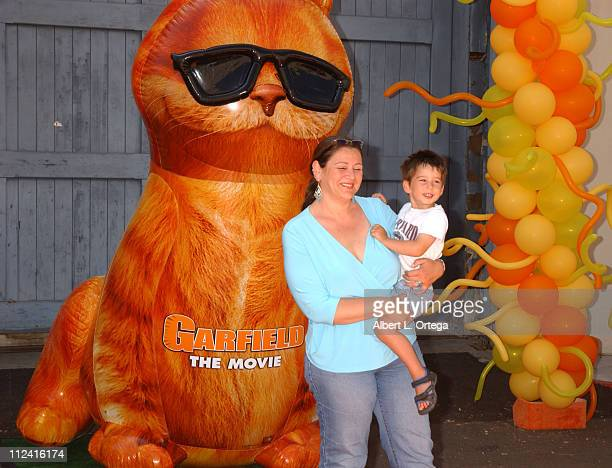 """Camryn Manheim and son Milo during """"Garfield: The Movie"""" World Premiere - Arrivals at The Zanuck Theater in Los Angeles, California, United States."""