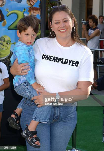 Camryn Manheim and son Milo during 'Shrek 2' Los Angeles Premiere at Mann Village Theatre in Westwood California United States