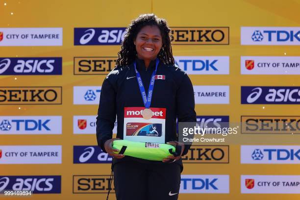 Camryn Rogers of Canada celebrates with her medal during the medal ceremony for the women's hammer throw on day five of The IAAF World U20...
