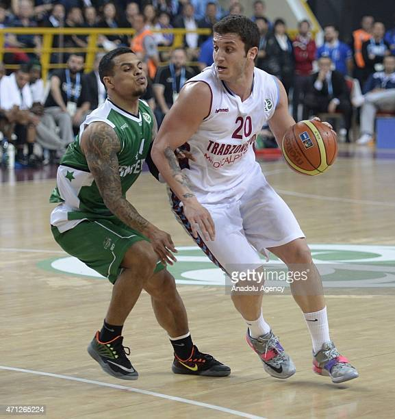 Can Altintig of Trabzonspor Medical Park in action during the FIBA EuroChallenge Final Four basketball match between Trabzonspor Medical Park and...