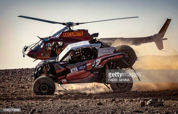 Can - Am Mavetrick's Lebedev Pavel and co-driver Shibin Kirill compete during the Rally of Morocco 2021, in the desert of Zagora region, on October...