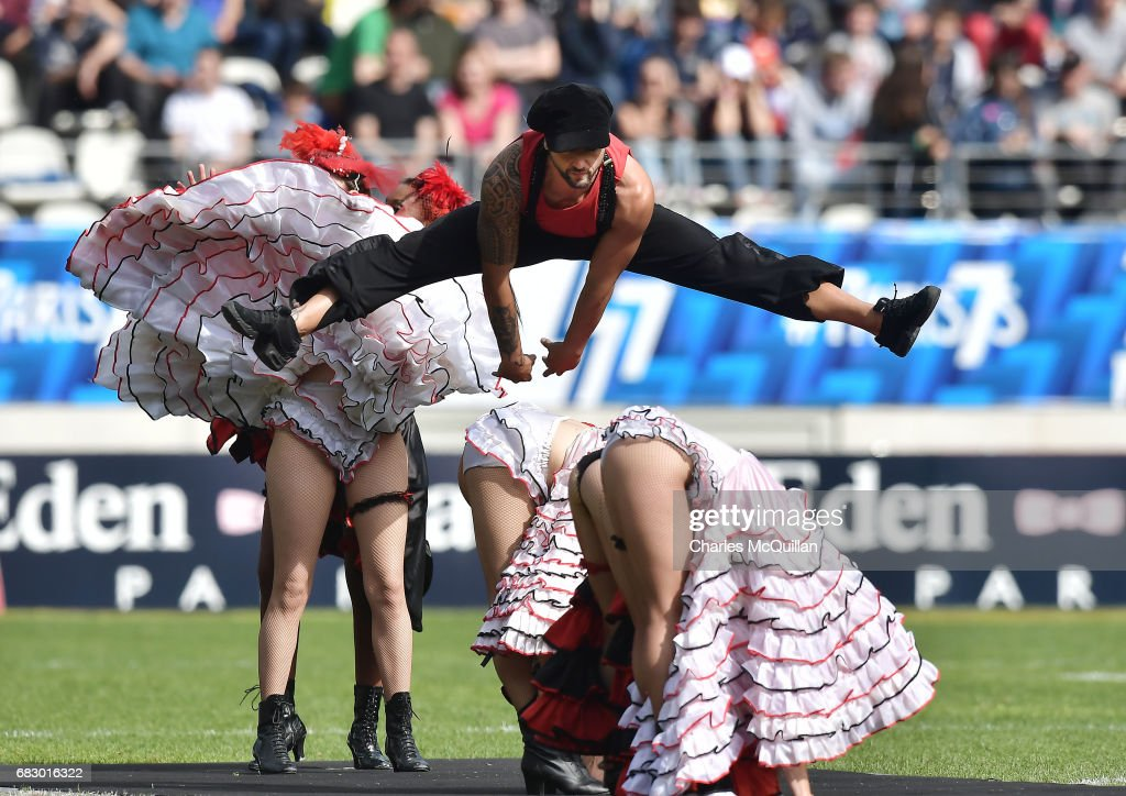 Can Can dancers perform before the HSBC World Rugby Sevens Series final at Stade Jean Bouin on May 14, 2017 in Paris, France.