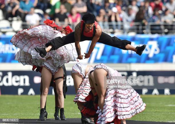 Can Can dancers perform before the HSBC World Rugby Sevens Series final at Stade Jean Bouin on May 14 2017 in Paris France