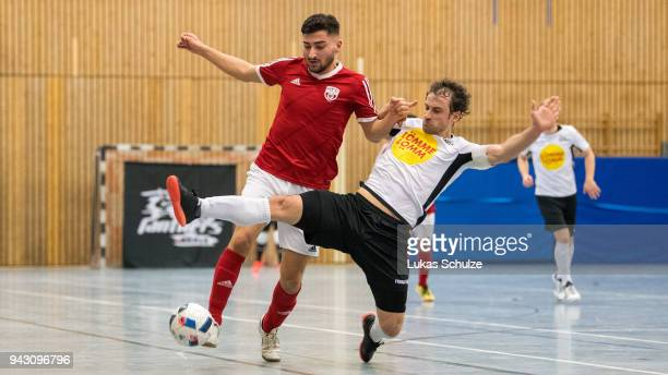 Can Duezel of Hamburg and Timo Heinze of Koeln in action during the quarter final match of the German Futsal Championship 2018 between Futsal...
