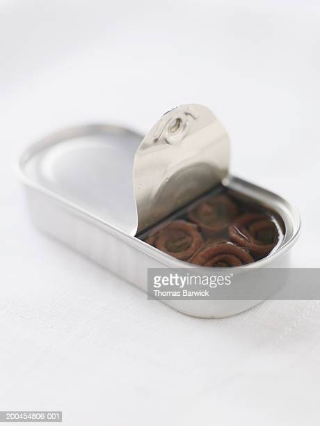 Can of anchovies with capers in olive oil, elevated view
