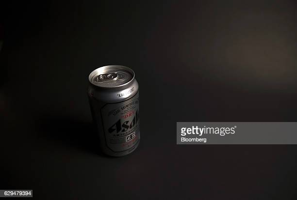A can of Asahi Breweries Ltd's Asahi Super Dry beer sits displayed for a photograph in Tokyo Japan on Tuesday Dec 13 2016 Asahi agreed to buy...