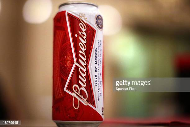 Can of Budweiser beer is displayed in a kiosk in Grand Central Terminal on February 27, 2013 in New York City. In a new class action lawsuit against...