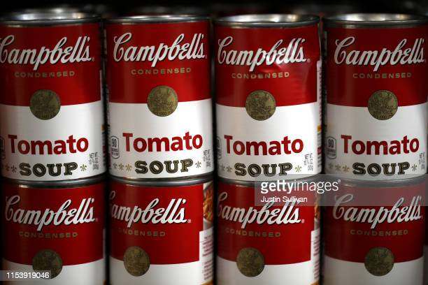 Can of Campbell's soup are displayed on a shelf at a grocery store on June 05 2019 in Richmond California Campbell Soup Co reported...
