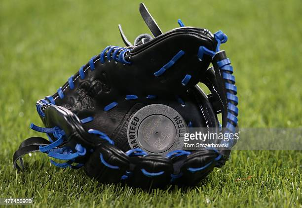 A can of chewing tobacco rests in a glove before the Toronto Blue Jays MLB game against the Seattle Mariners on May 22 2015 at Rogers Centre in...